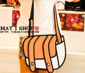 FREE SHIPPING 2D Orange Cartoon Messenger Shoulder Bag for Women Girl Canvas Fashion